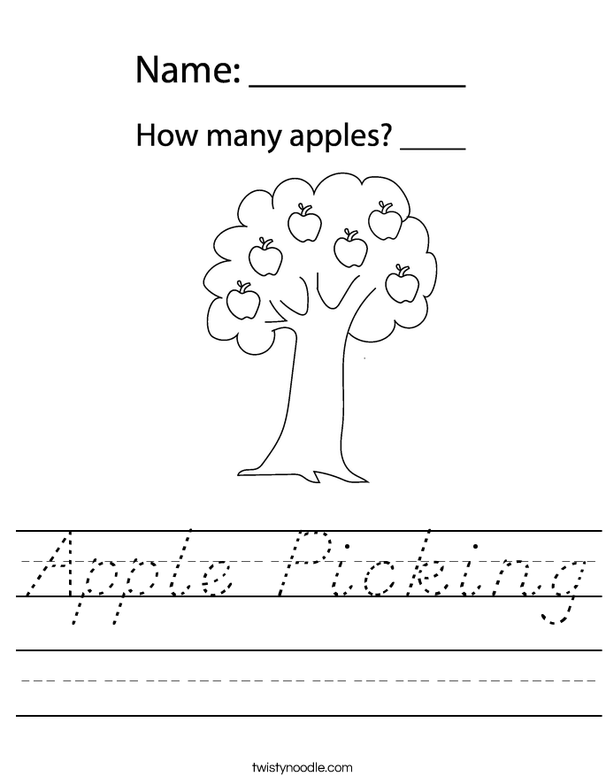 Apple Picking Worksheet