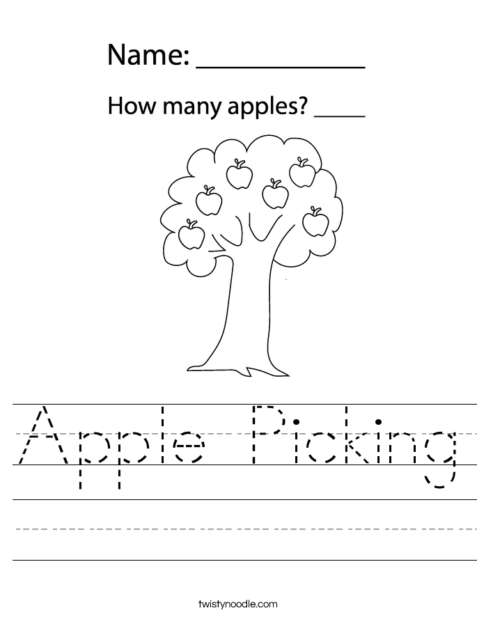Apple Picking Worksheet - Twisty Noodle