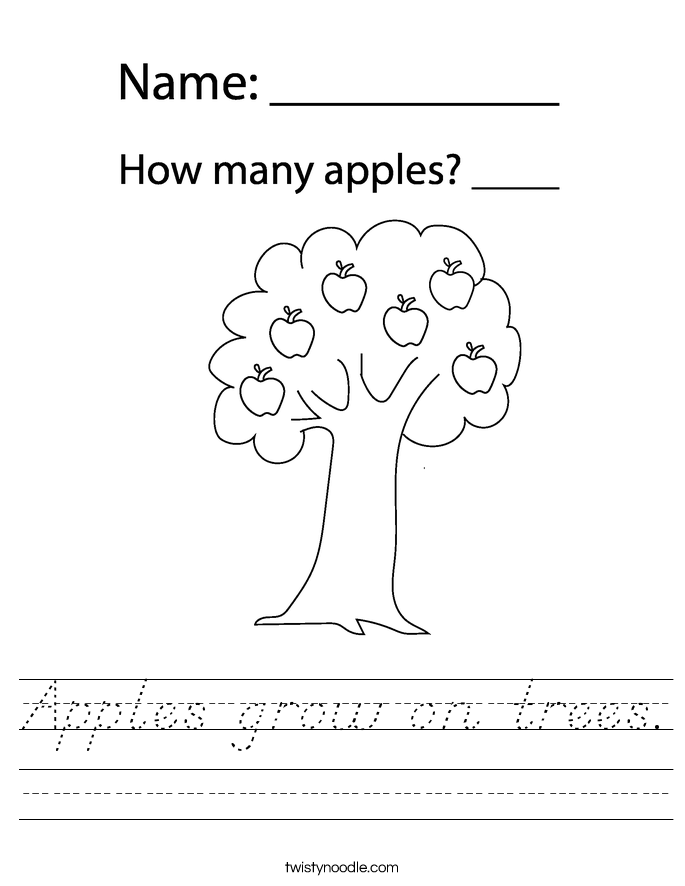 Apples grow on trees. Worksheet