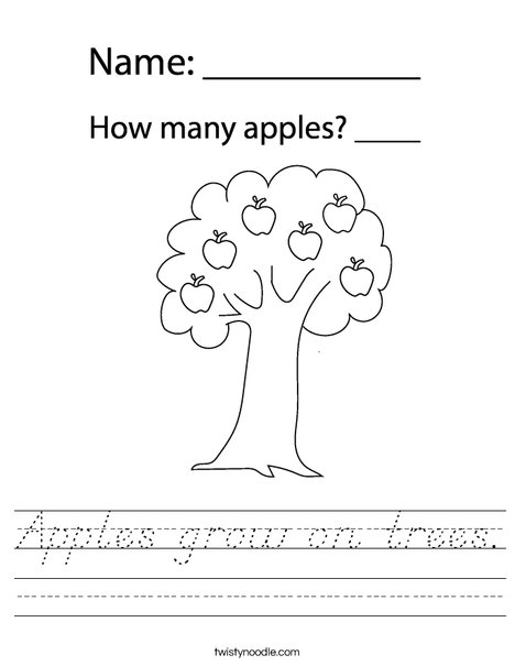 Apple with Leaves Worksheet