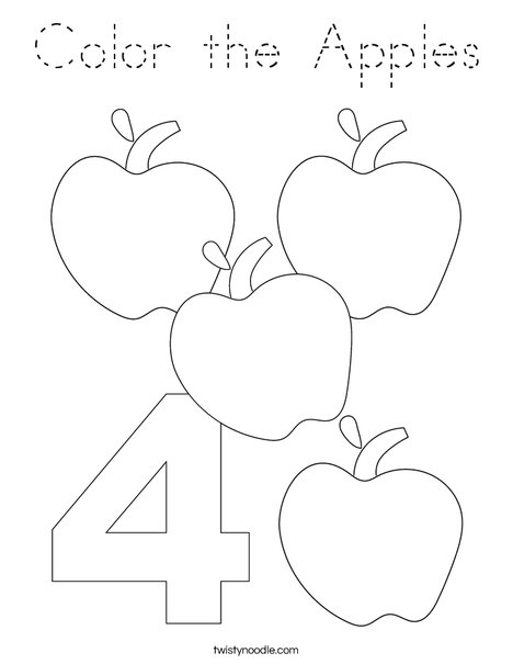 Four Apples Coloring Page