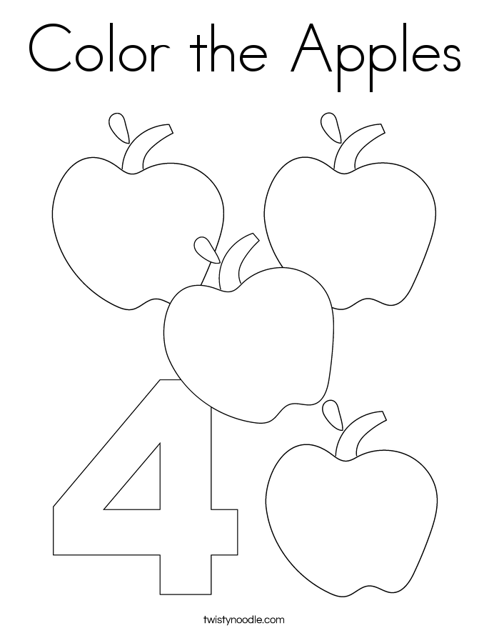 color the apples coloring page