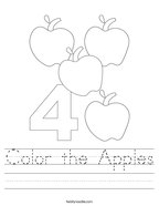 Color the Apples Handwriting Sheet
