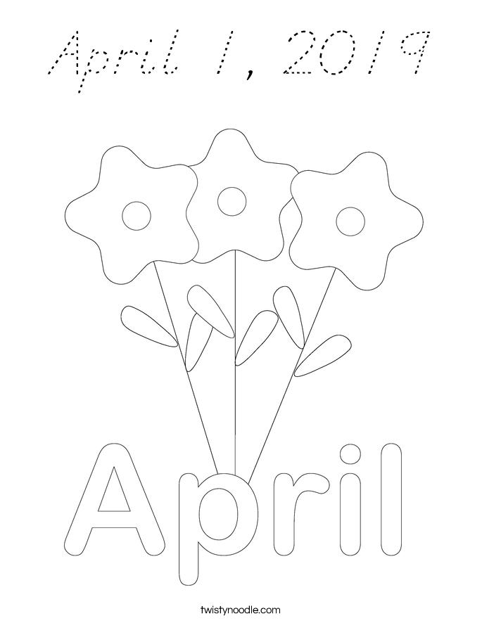 April 1, 2019 Coloring Page