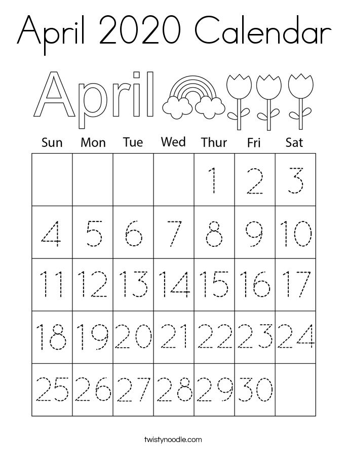 April 2020 Calendar Coloring Page
