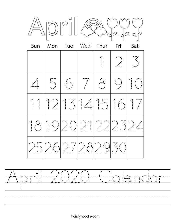 April 2020 Calendar Worksheet