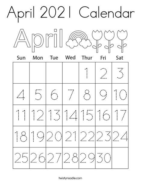 April 2021 Calendar Coloring Page