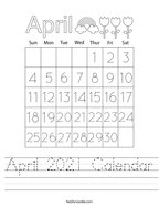 April 2021 Calendar Handwriting Sheet