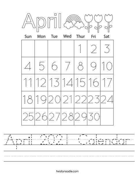 April 2021 Calendar Worksheet
