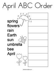 April ABC Order Coloring Page