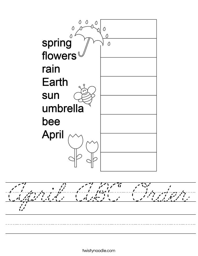 April ABC Order Worksheet