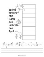 April ABC Order Handwriting Sheet
