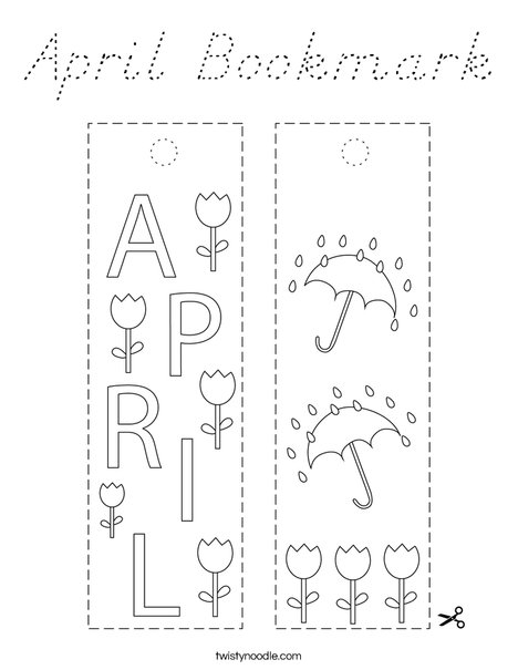 April Bookmark Coloring Page