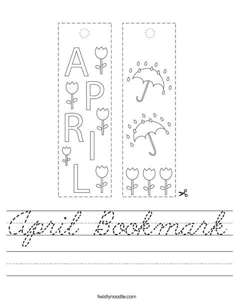April Bookmark Worksheet