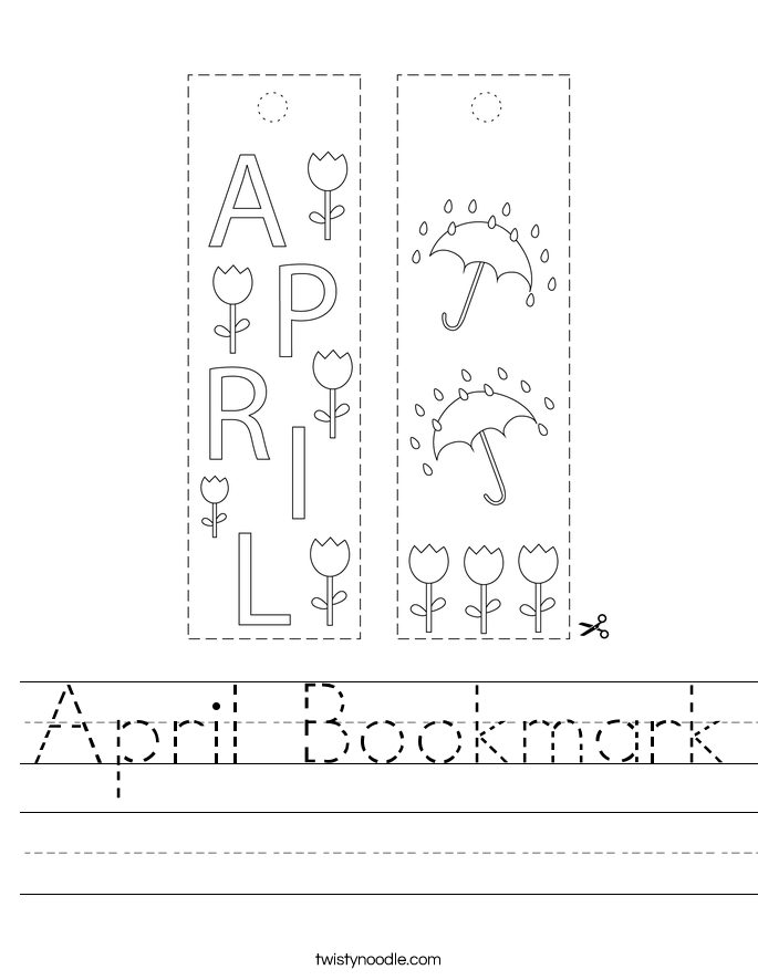 April Bookmark Worksheet