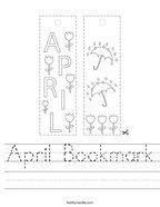 April Bookmark Handwriting Sheet