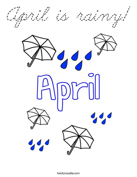 April is rainy! Coloring Page