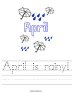 April is rainy Handwriting Sheet