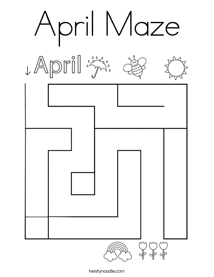 April Maze Coloring Page