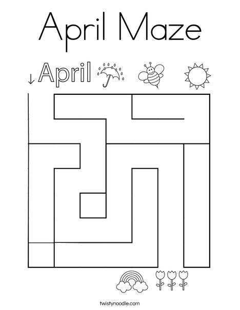 April Maze Coloring Page