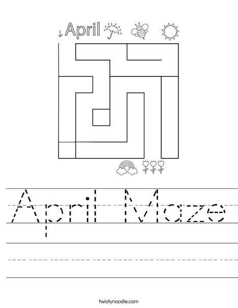 April Maze Worksheet