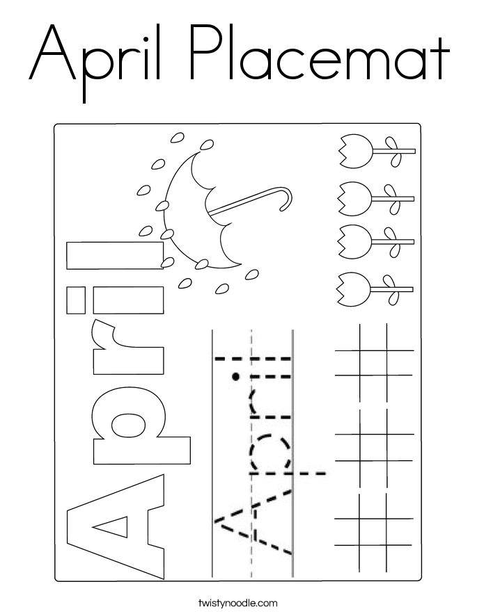 April Placemat Coloring Page