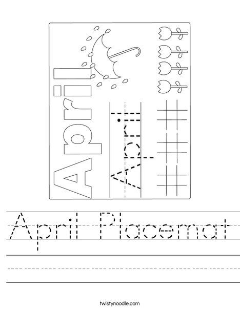 April Placemat Worksheet