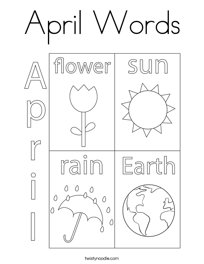 April Words Coloring Page