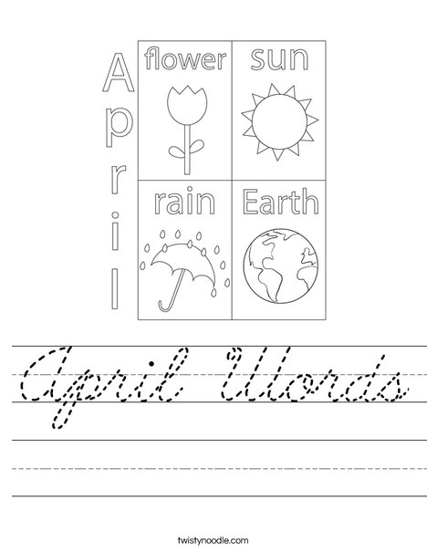 April Words Worksheet