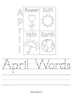 April Words Handwriting Sheet