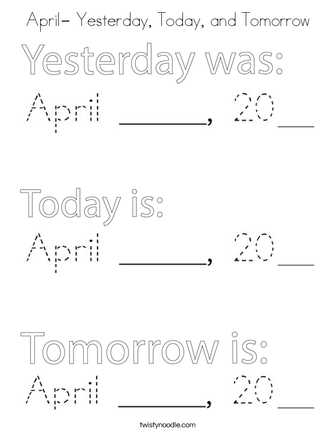 April- Yesterday, Today, and Tomorrow Coloring Page