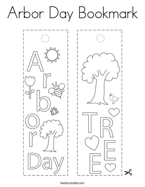 Arbor Day Bookmark Coloring Page