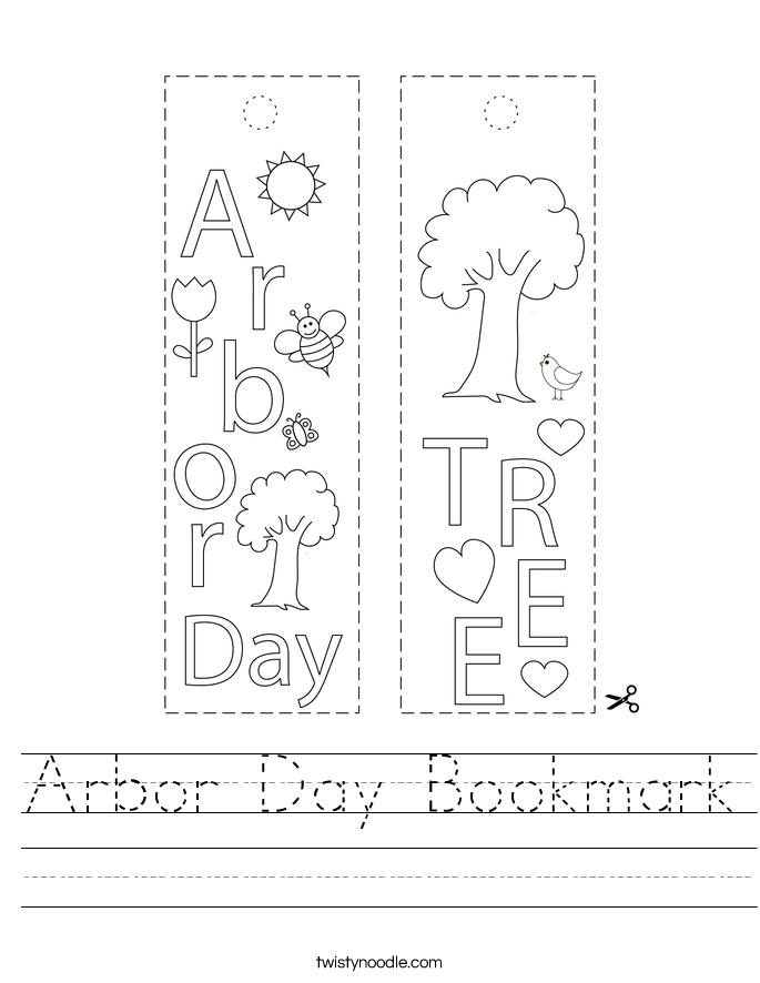 Arbor Day Bookmark Worksheet