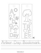 Arbor Day Bookmark Handwriting Sheet