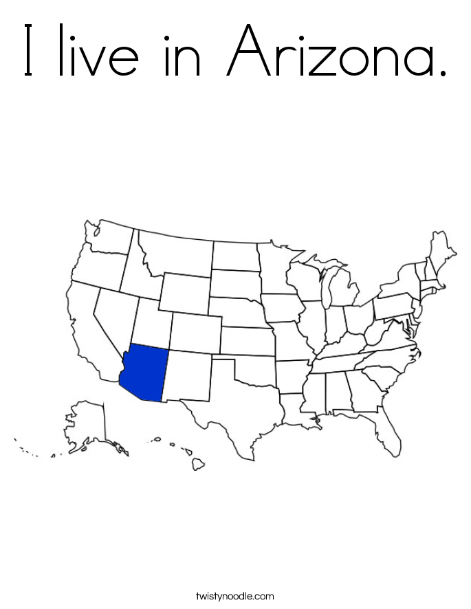 I live in Arizona. Coloring Page