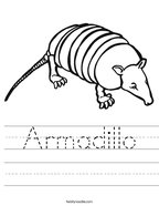 Armadillo Handwriting Sheet