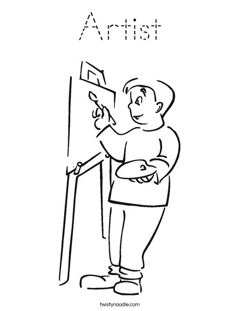 Boy Artist Coloring Page