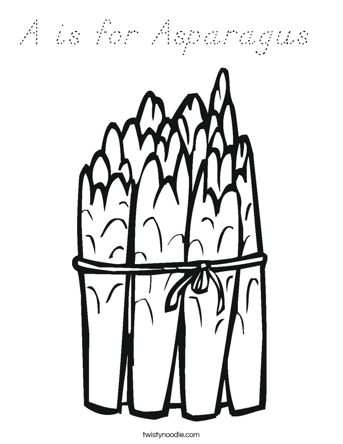A is for Asparagus  Coloring Page