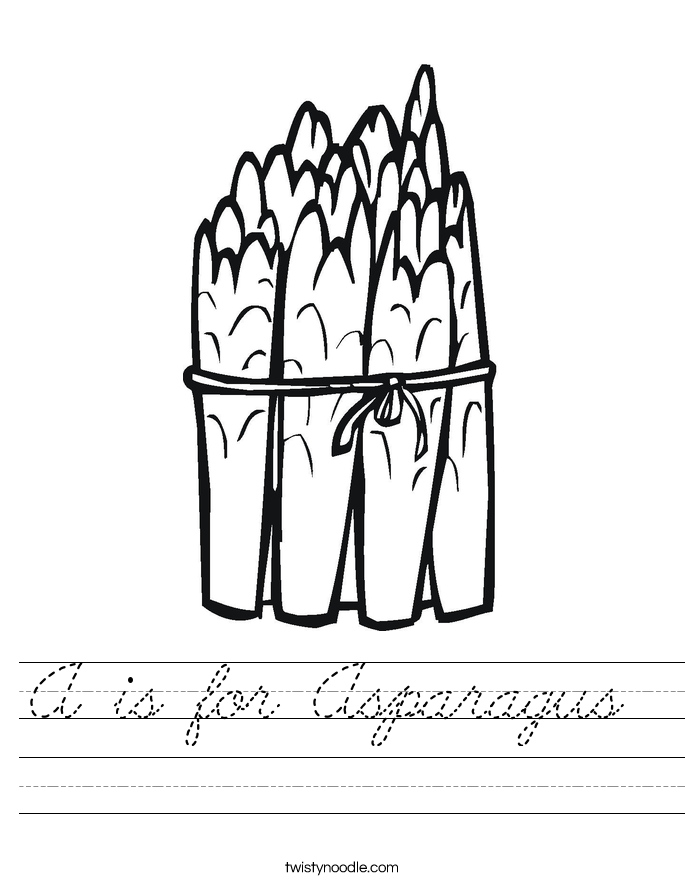 A is for Asparagus  Worksheet