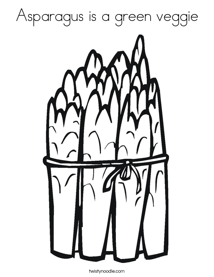 Asparagus is a green veggie Coloring Page