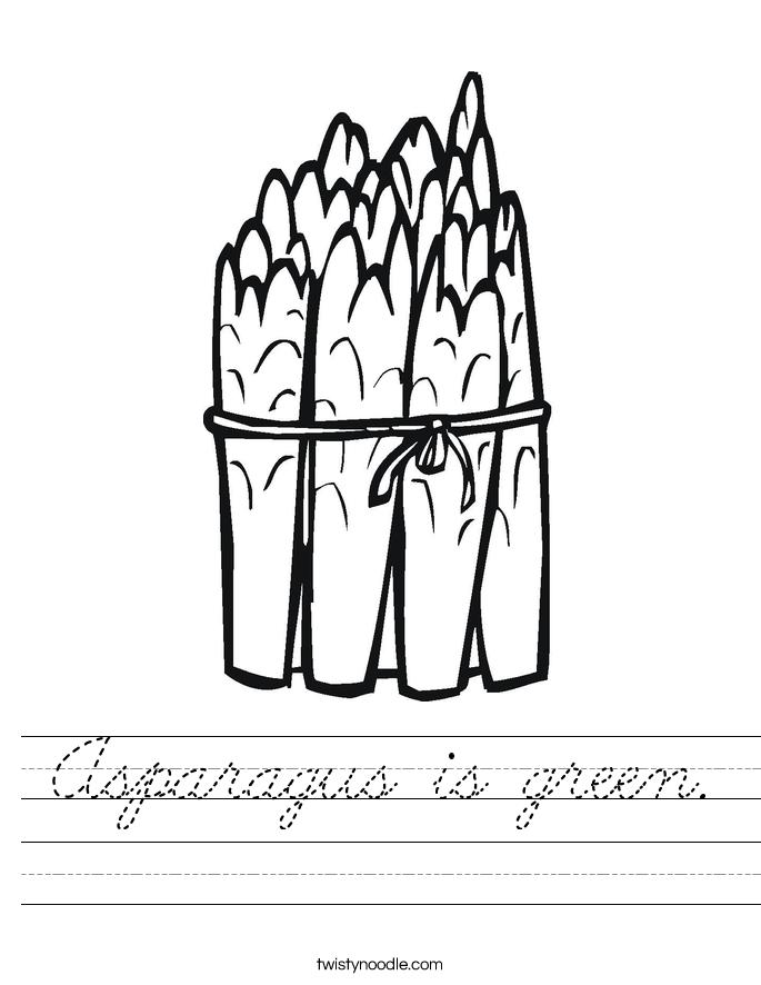 Asparagus is green. Worksheet