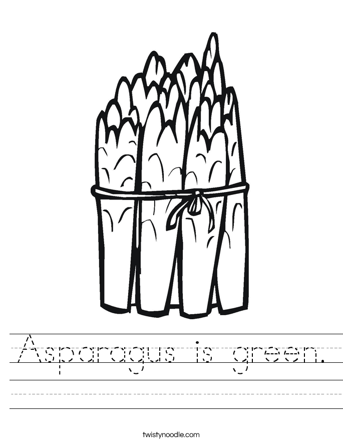 Asparagus is green. Worksheet