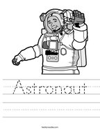 Astronaut Handwriting Sheet