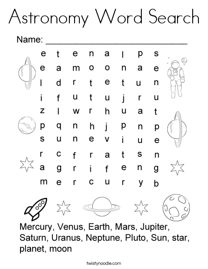 Astronomy Word Search Coloring Page - Twisty Noodle