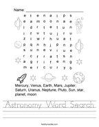 Similar Worksheets. Astronomy Word Search Handwriting Sheet