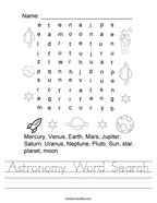 Astronomy Word Search Handwriting Sheet