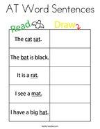 AT Word Sentences Coloring Page