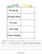 AT Word Sentences Handwriting Sheet