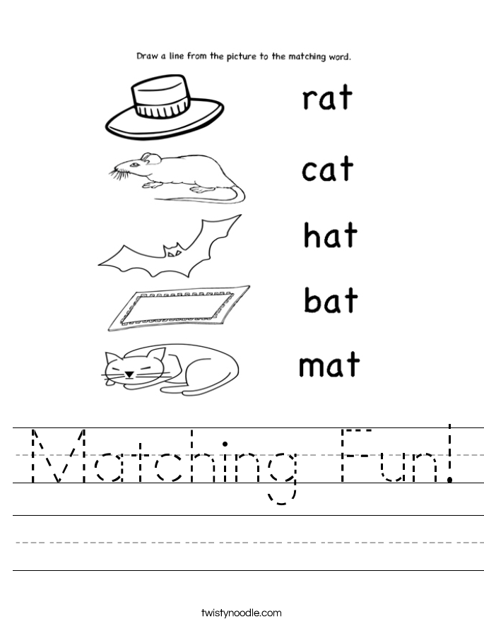 Matching Images >> Matching Fun Worksheet - Twisty Noodle