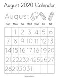 August 2020 Calendar Coloring Page